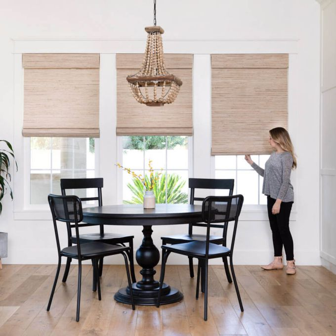 designer woven wood bamboo shades in cora