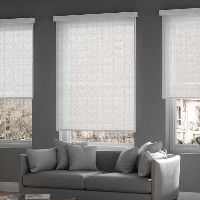designer white embossed roller shades