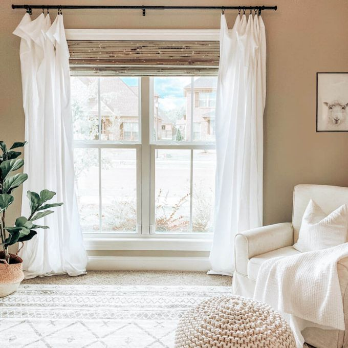 premium woven wood blinds layered with drapes